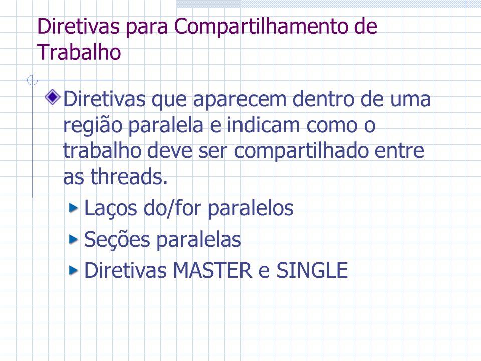 Diretivas que aparecem dentro de uma região paralela e indicam como o trabalho deve ser compartilhado entre as threads. Laços do/for paralelos Seções