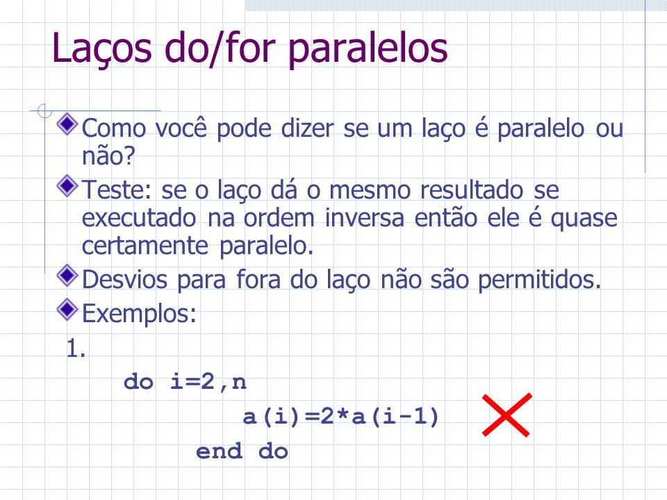 Laços do/for paralelos Como você pode dizer se um laço é paralelo ou não? Teste: se o laço dá o mesmo resultado se executado na ordem inversa então el