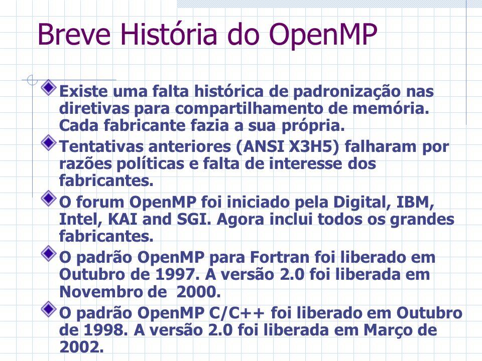 Breve História do OpenMP Existe uma falta histórica de padronização nas diretivas para compartilhamento de memória. Cada fabricante fazia a sua própri