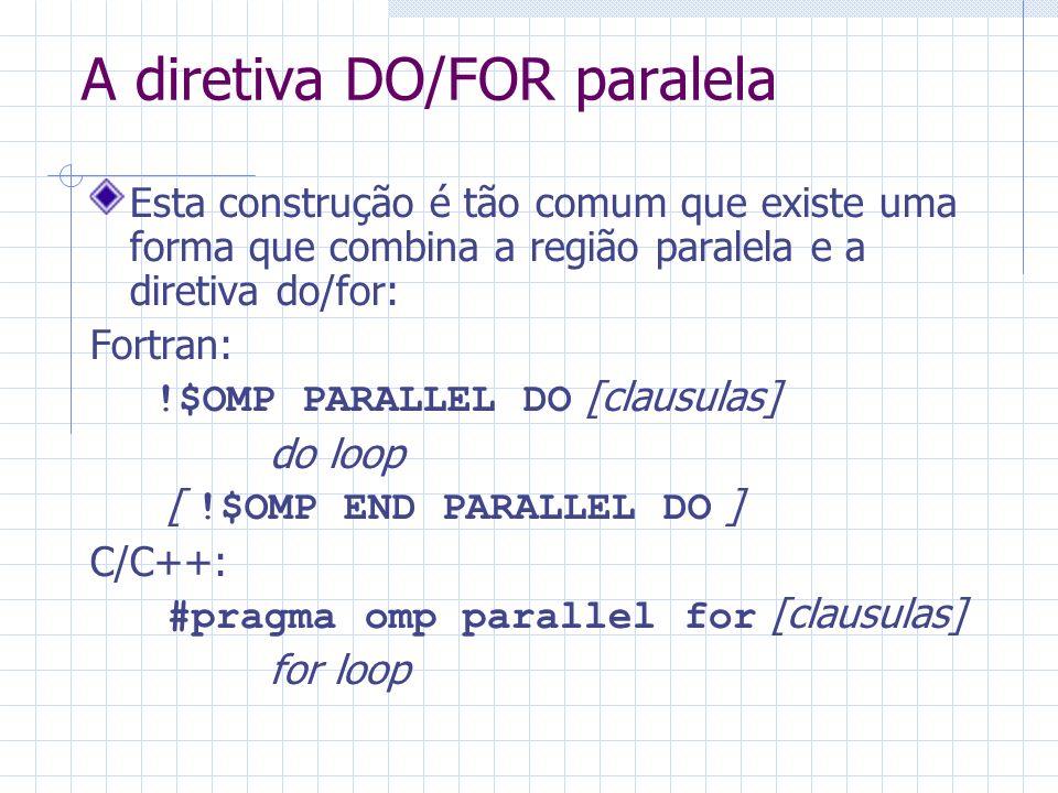 A diretiva DO/FOR paralela Esta construção é tão comum que existe uma forma que combina a região paralela e a diretiva do/for: Fortran: !$OMP PARALLEL