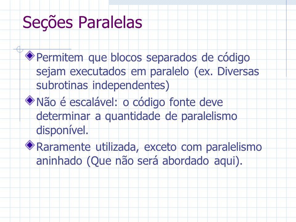 Seções Paralelas Permitem que blocos separados de código sejam executados em paralelo (ex. Diversas subrotinas independentes) Não é escalável: o códig