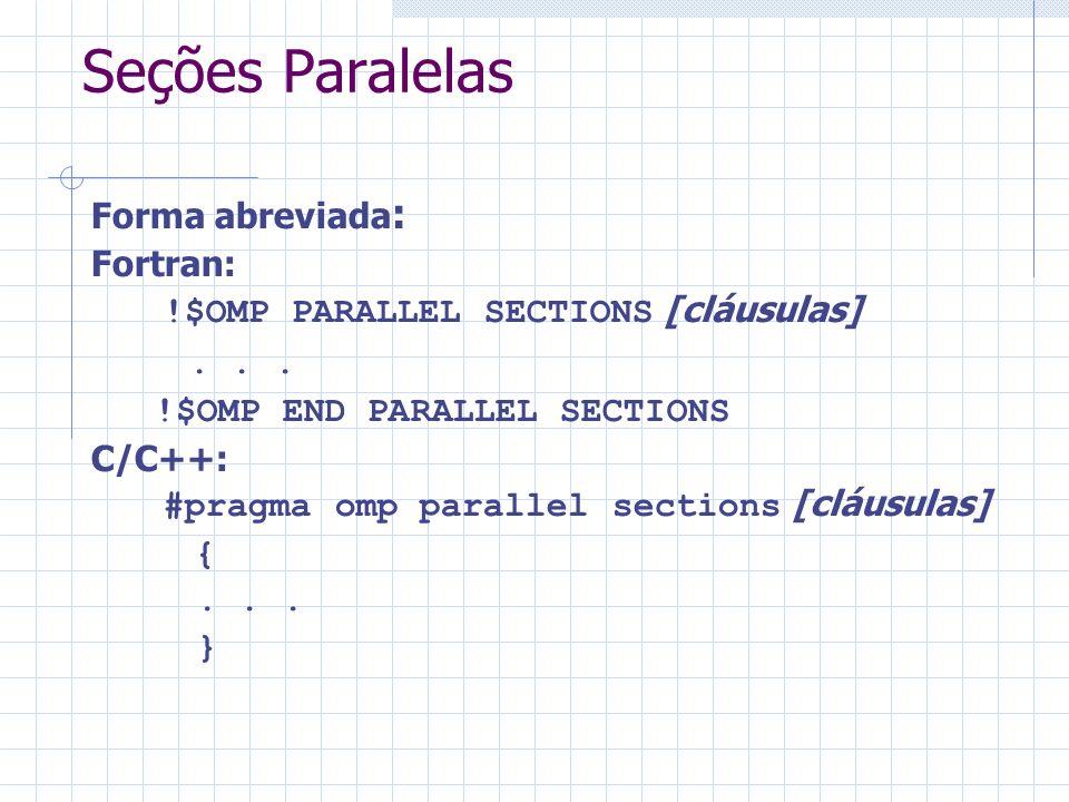 Seções Paralelas Forma abreviada : Fortran: !$OMP PARALLEL SECTIONS [cláusulas]... !$OMP END PARALLEL SECTIONS C/C++: #pragma omp parallel sections [c