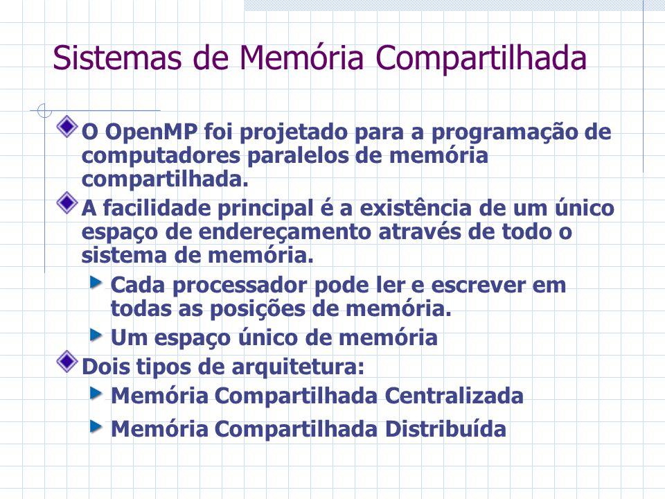 Sistemas de Memória Compartilhada O OpenMP foi projetado para a programação de computadores paralelos de memória compartilhada. A facilidade principal