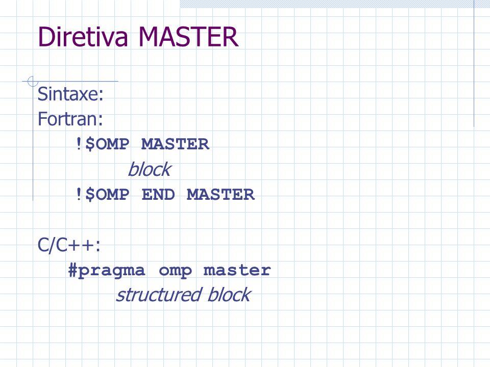 Diretiva MASTER Sintaxe: Fortran: !$OMP MASTER block !$OMP END MASTER C/C++: #pragma omp master structured block