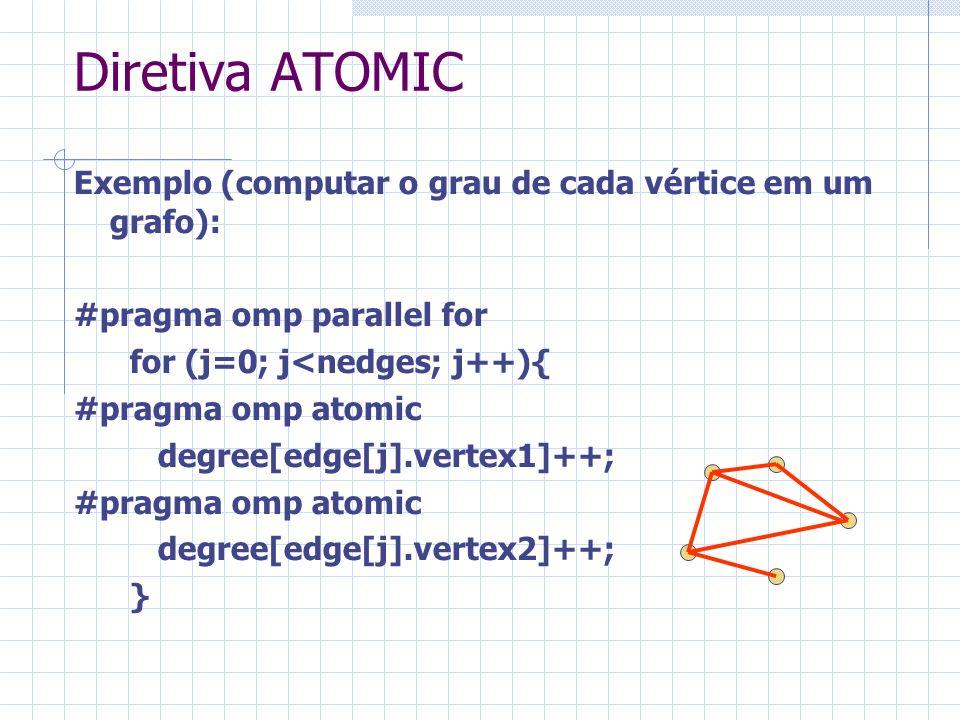 Diretiva ATOMIC Exemplo (computar o grau de cada vértice em um grafo): #pragma omp parallel for for (j=0; j<nedges; j++){ #pragma omp atomic degree[ed