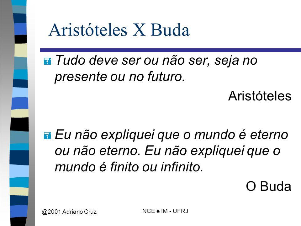 @2001 Adriano Cruz NCE e IM - UFRJ Aristóteles X Buda = Tudo deve ser ou não ser, seja no presente ou no futuro.