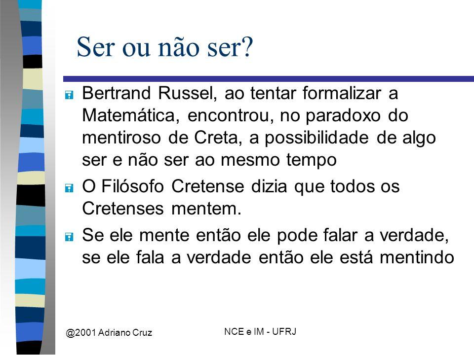 @2001 Adriano Cruz NCE e IM - UFRJ Ser ou não ser.