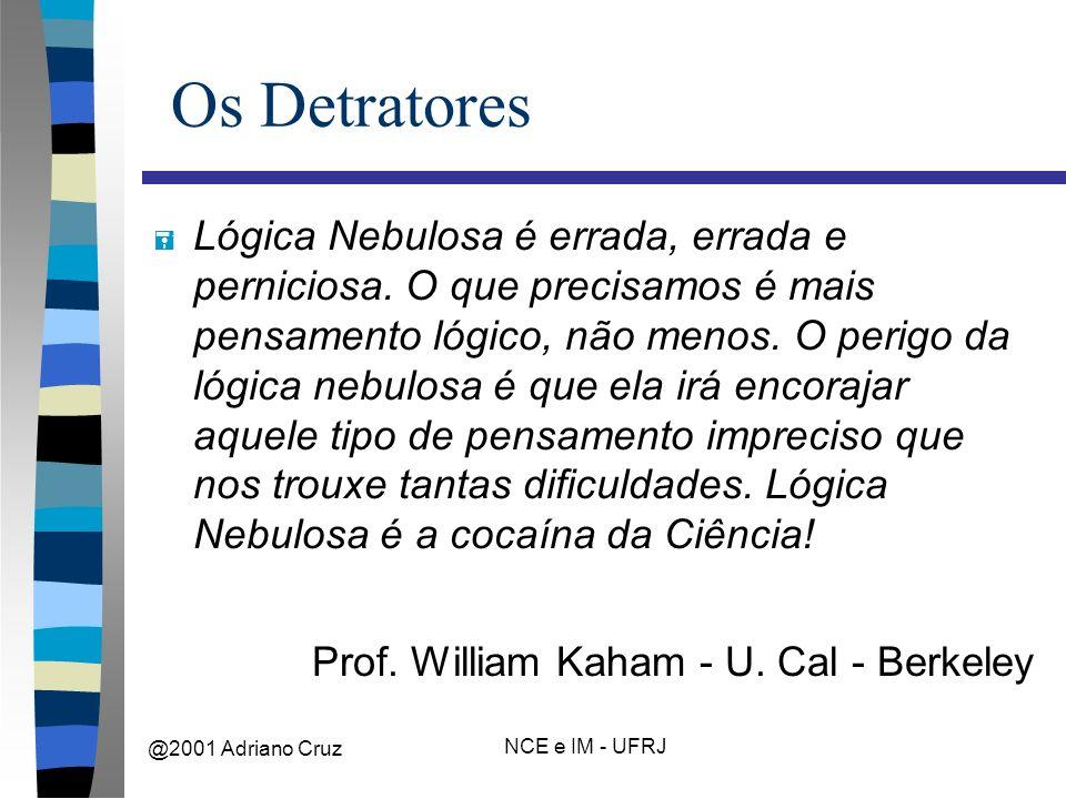 @2001 Adriano Cruz NCE e IM - UFRJ Os Detratores = Lógica Nebulosa é errada, errada e perniciosa.