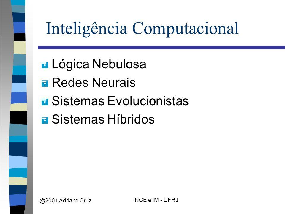 @2001 Adriano Cruz NCE e IM - UFRJ Inteligência Computacional = Lógica Nebulosa = Redes Neurais = Sistemas Evolucionistas = Sistemas Híbridos
