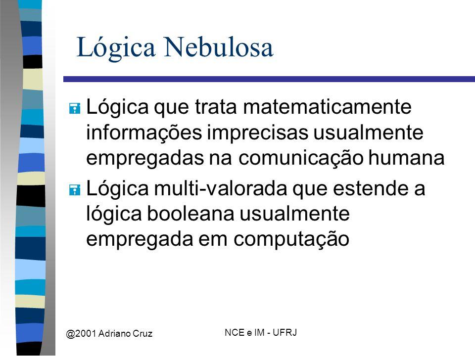 @2001 Adriano Cruz NCE e IM - UFRJ Lógica Nebulosa = Lógica que trata matematicamente informações imprecisas usualmente empregadas na comunicação humana = Lógica multi-valorada que estende a lógica booleana usualmente empregada em computação