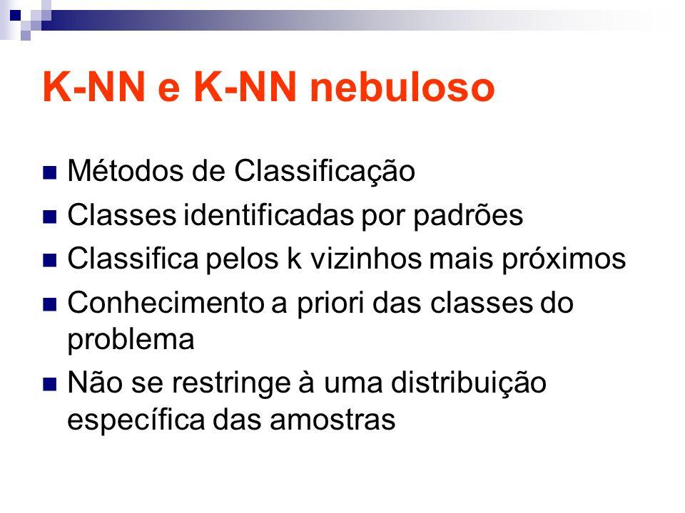 K-NN e K-NN nebuloso Métodos de Classificação Classes identificadas por padrões Classifica pelos k vizinhos mais próximos Conhecimento a priori das classes do problema Não se restringe à uma distribuição específica das amostras