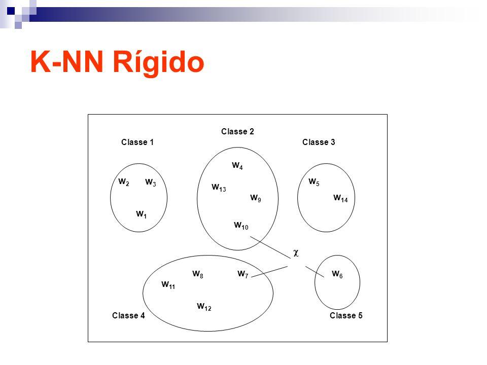 K-NN Rígido w1w1 w2w2 w3w3 w4w4 w 13 w 10 w9w9 w 14 w5w5 w8w8 w 12 w 11 w6w6 w7w7 Classe 1 Classe 2 Classe 3 Classe 4Classe 5