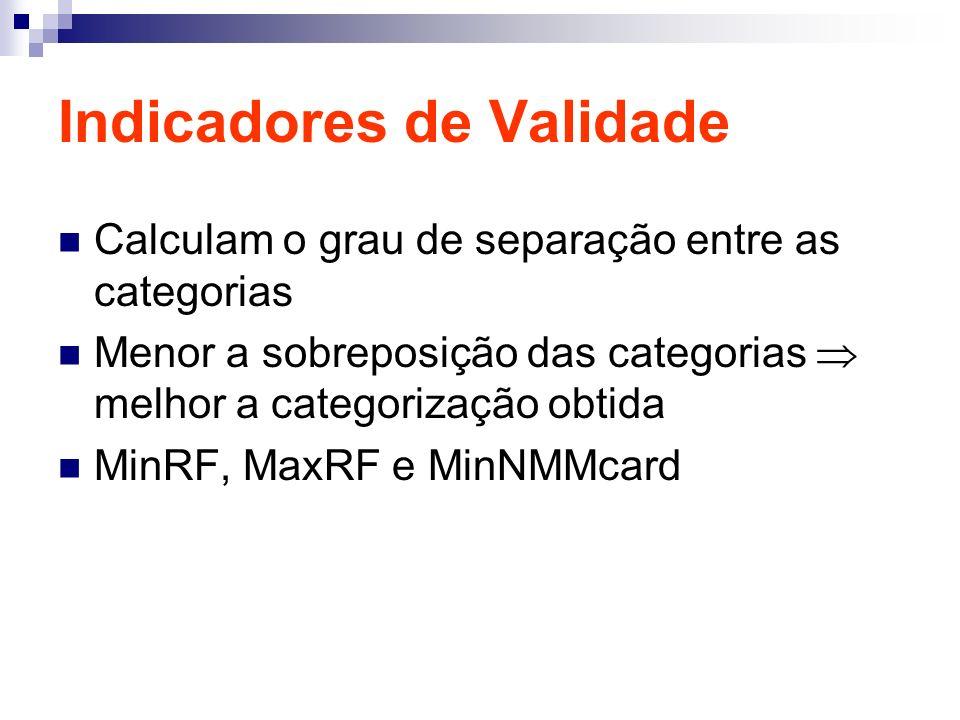 Indicadores de Validade Calculam o grau de separação entre as categorias Menor a sobreposição das categorias melhor a categorização obtida MinRF, MaxRF e MinNMMcard