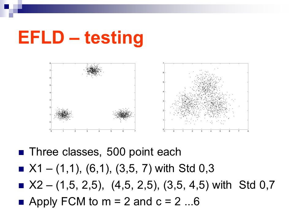 EFLD – testing Three classes, 500 point each X1 – (1,1), (6,1), (3,5, 7) with Std 0,3 X2 – (1,5, 2,5), (4,5, 2,5), (3,5, 4,5) with Std 0,7 Apply FCM to m = 2 and c = 2...6