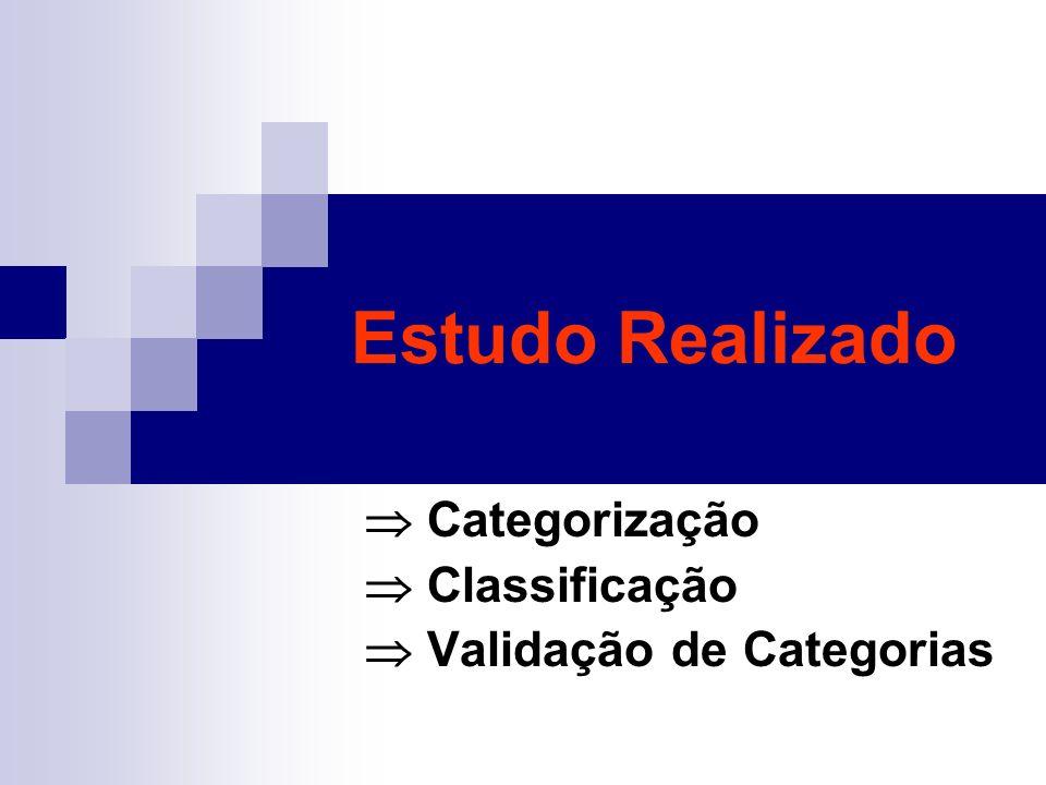Estudo Realizado Categorização Classificação Validação de Categorias