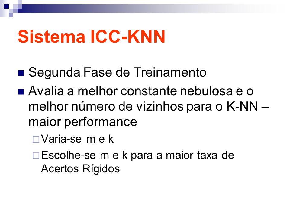 Sistema ICC-KNN Segunda Fase de Treinamento Avalia a melhor constante nebulosa e o melhor número de vizinhos para o K-NN – maior performance Varia-se m e k Escolhe-se m e k para a maior taxa de Acertos Rígidos