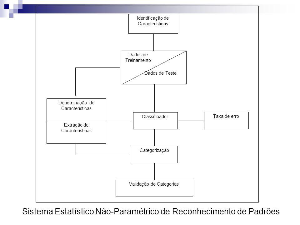 Denominação de Características Extração de Características Identificação de Características Categorização Validação de Categorias Classificador Dados de Treinamento Dados de Teste Taxa de erro Sistema Estatístico Não-Paramétrico de Reconhecimento de Padrões