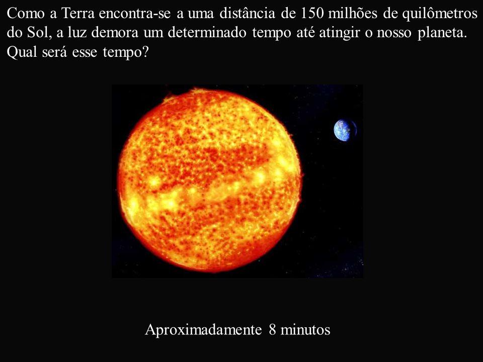 Como a Terra encontra-se a uma distância de 150 milhões de quilômetros do Sol, a luz demora um determinado tempo até atingir o nosso planeta. Qual ser