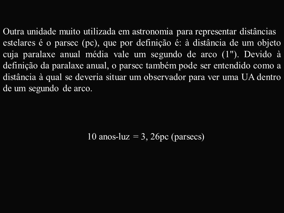 Outra unidade muito utilizada em astronomia para representar distâncias estelares é o parsec (pc), que por definição é: à distância de um objeto cuja