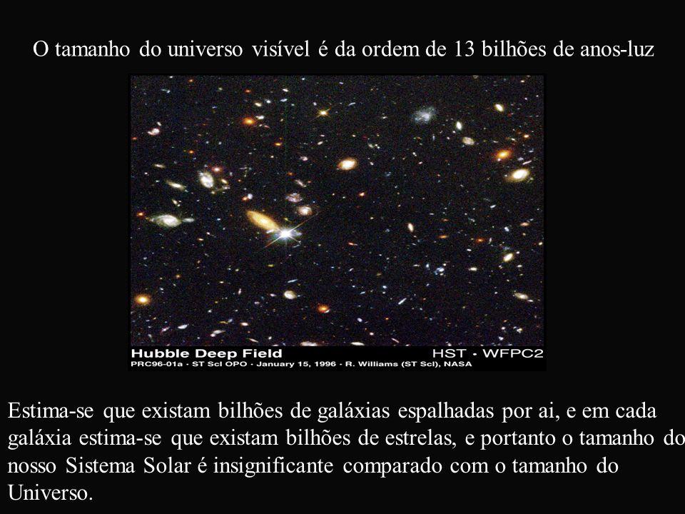O tamanho do universo visível é da ordem de 13 bilhões de anos-luz Estima-se que existam bilhões de galáxias espalhadas por ai, e em cada galáxia esti