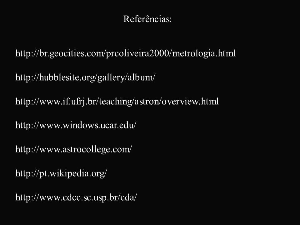 Referências: http://br.geocities.com/prcoliveira2000/metrologia.html http://hubblesite.org/gallery/album/ http://www.if.ufrj.br/teaching/astron/overvi