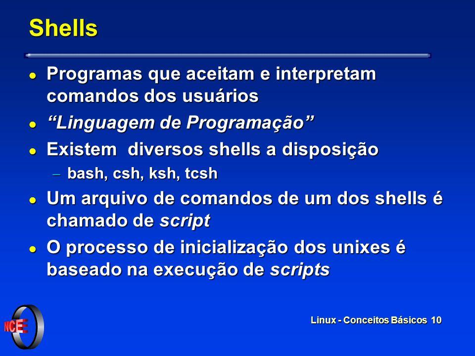Linux - Conceitos Básicos 9 Kernel - Modular l O kernel do linux é modular l Módulos podem ser carregados a medida que o usuário necessita l Sistema c
