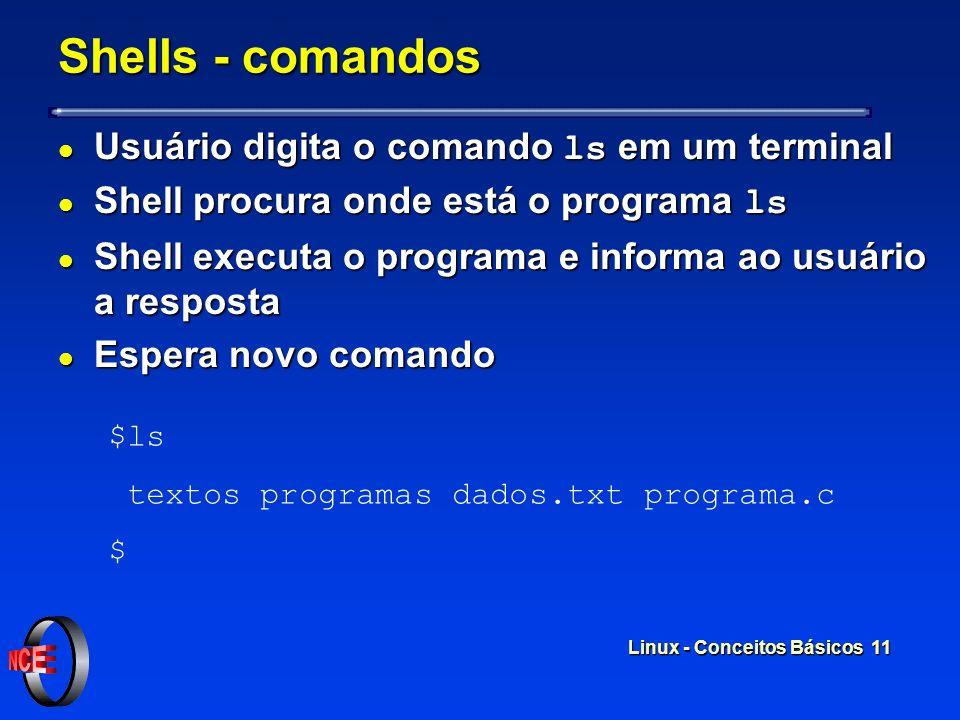 Linux - Conceitos Básicos 10 Shells l Programas que aceitam e interpretam comandos dos usuários l Linguagem de Programação l Existem diversos shells a