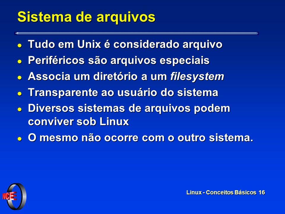 Linux - Conceitos Básicos 15 Sistema de arquivos l O Linux organiza seu sistema de arquivos em uma árvore de diretórios A raiz desta árvore é o diretó