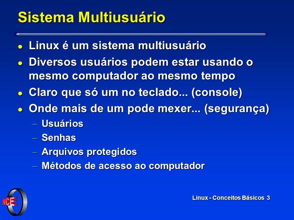 Linux - Conceitos Básicos 3 Sistema Multiusuário l Linux é um sistema multiusuário l Diversos usuários podem estar usando o mesmo computador ao mesmo tempo l Claro que só um no teclado...