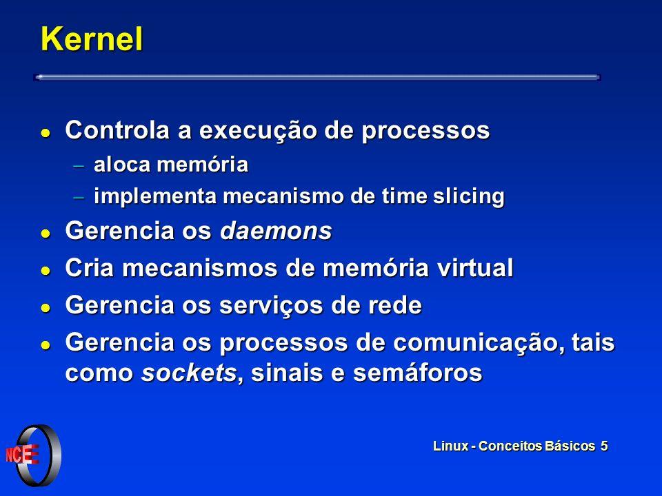 Linux - Conceitos Básicos 5 Kernel l Controla a execução de processos aloca memória aloca memória implementa mecanismo de time slicing implementa mecanismo de time slicing l Gerencia os daemons l Cria mecanismos de memória virtual l Gerencia os serviços de rede l Gerencia os processos de comunicação, tais como sockets, sinais e semáforos