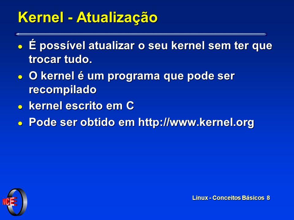 Linux - Conceitos Básicos 7 Kernel - Versões l Versões novas do Kernel são liberadas após testes exaustivos l Linus ainda envolvido com o processo l V