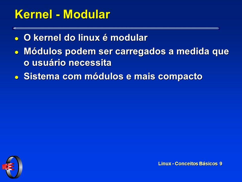 Linux - Conceitos Básicos 9 Kernel - Modular l O kernel do linux é modular l Módulos podem ser carregados a medida que o usuário necessita l Sistema com módulos e mais compacto