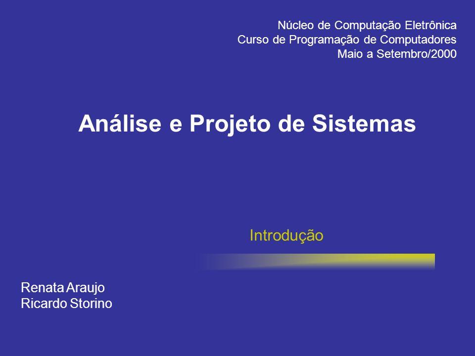 Análise e Projeto de Sistemas Introdução Renata Araujo Ricardo Storino Núcleo de Computação Eletrônica Curso de Programação de Computadores Maio a Set