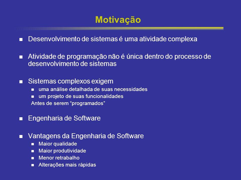 2 Motivação Desenvolvimento de sistemas é uma atividade complexa Atividade de programação não é única dentro do processo de desenvolvimento de sistema