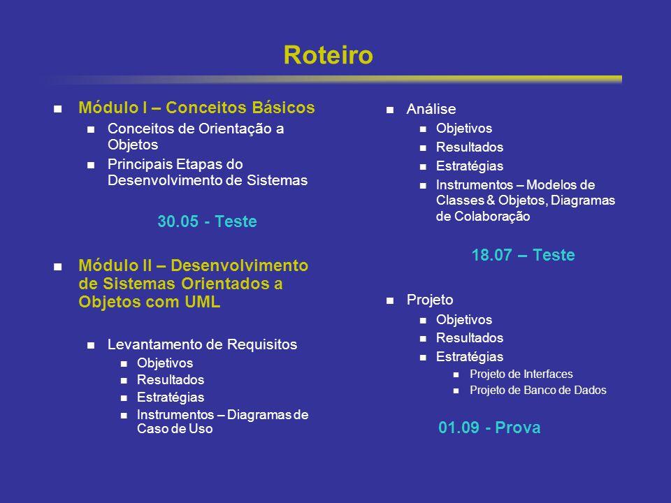 4 Roteiro Módulo I – Conceitos Básicos Conceitos de Orientação a Objetos Principais Etapas do Desenvolvimento de Sistemas 30.05 - Teste Módulo II – De