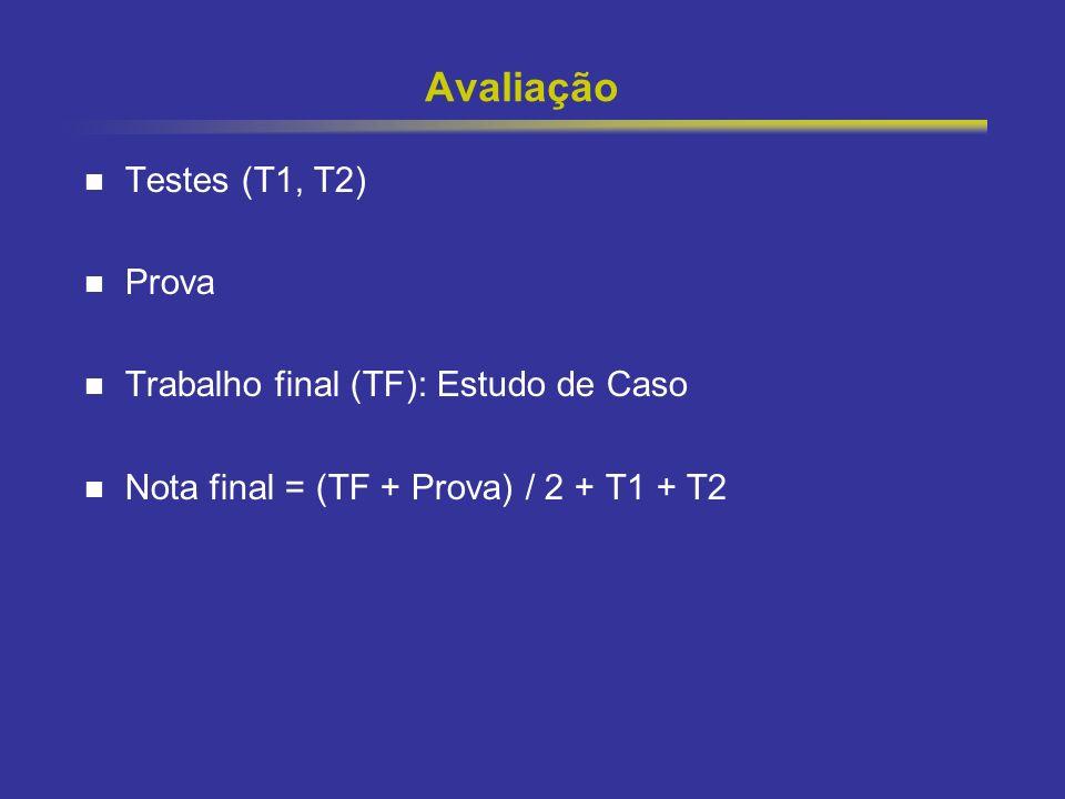 5 Avaliação Testes (T1, T2) Prova Trabalho final (TF): Estudo de Caso Nota final = (TF + Prova) / 2 + T1 + T2