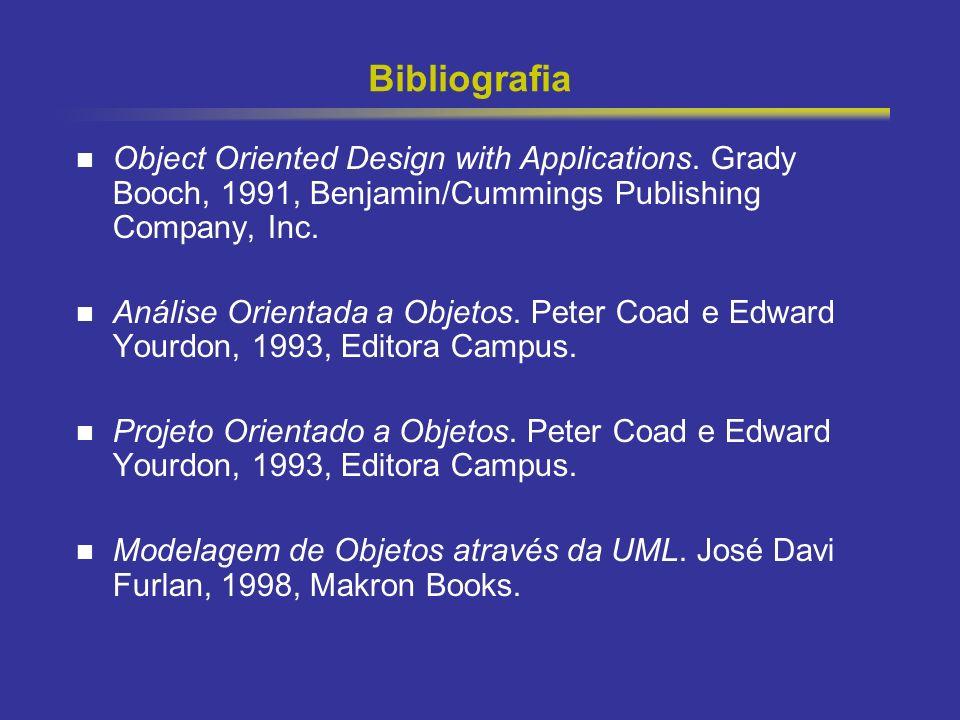 6 Bibliografia Object Oriented Design with Applications. Grady Booch, 1991, Benjamin/Cummings Publishing Company, Inc. Análise Orientada a Objetos. Pe