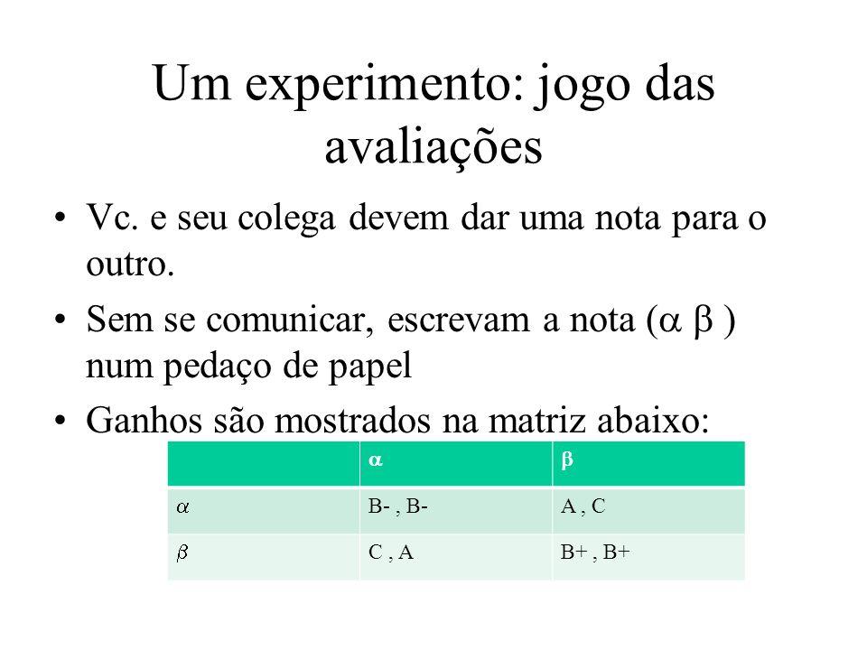 Um experimento: jogo das avaliações Vc. e seu colega devem dar uma nota para o outro. Sem se comunicar, escrevam a nota ( ) num pedaço de papel Ganhos
