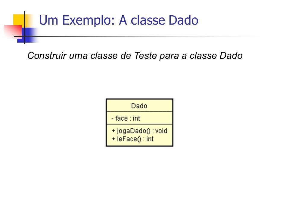 Um Exemplo: A classe Dado Construir uma classe de Teste para a classe Dado