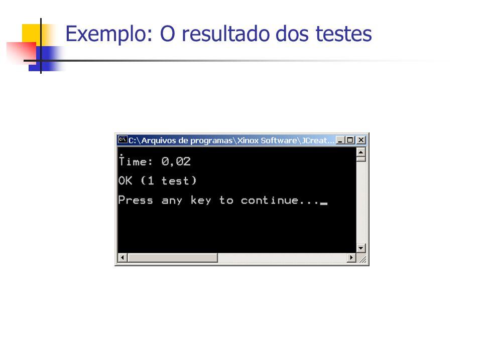 Exemplo: O resultado dos testes