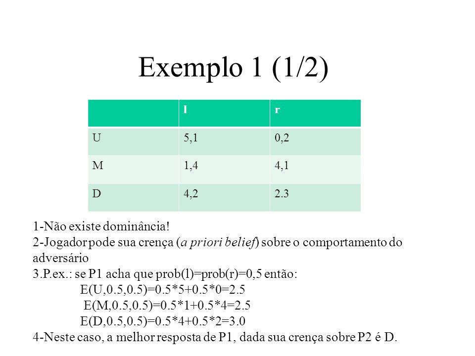 Exemplo 1 (2/2) lr U5,10,2 M1,44,1 D4,22.3 1-A melhor resposta de P1, depende da crença sobre o comportamento de P2 2-seja p a estimativa a priori de P2 jogar r.
