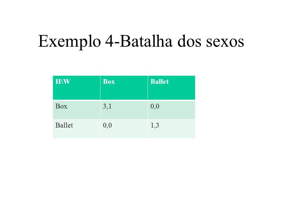 Exemplo 5 - Dilema dos prisioneiros H\WDeduraCala Dedura0,07,-2 Cala-2,75,5