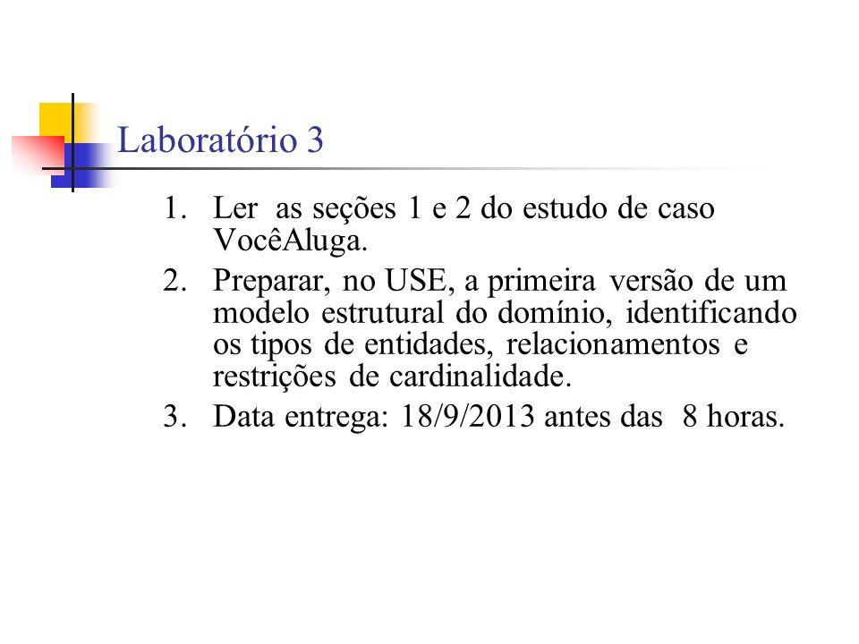 Laboratório 3 1.Ler as seções 1 e 2 do estudo de caso VocêAluga.