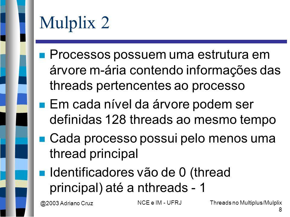 @2003 Adriano Cruz NCE e IM - UFRJThreads no Multiplus/Mulplix 8 Mulplix 2 Processos possuem uma estrutura em árvore m-ária contendo informações das t