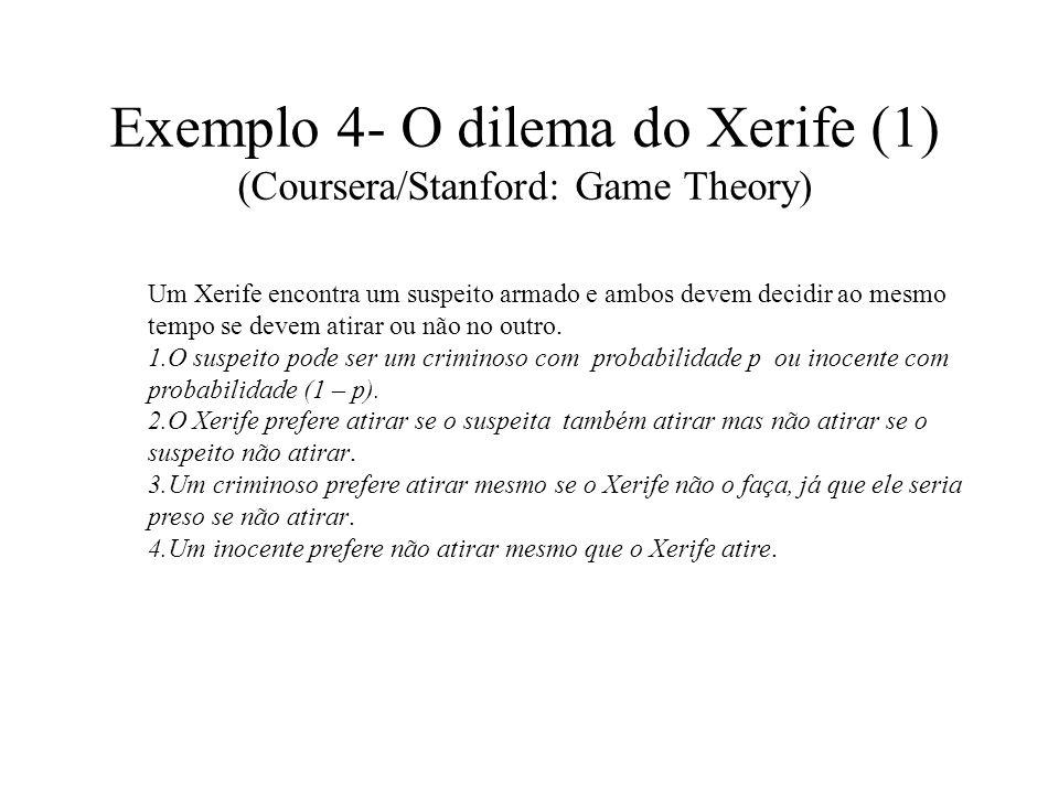 Exemplo 4- O dilema do Xerife (1) (Coursera/Stanford: Game Theory) Um Xerife encontra um suspeito armado e ambos devem decidir ao mesmo tempo se devem