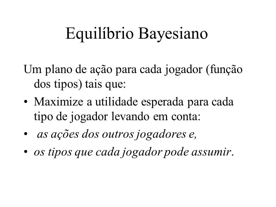 Equilíbrio Bayesiano Um plano de ação para cada jogador (função dos tipos) tais que: Maximize a utilidade esperada para cada tipo de jogador levando e