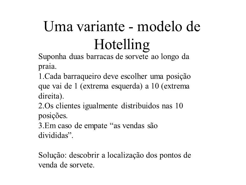 Uma variante - modelo de Hotelling Suponha duas barracas de sorvete ao longo da praia. 1.Cada barraqueiro deve escolher uma posição que vai de 1 (extr