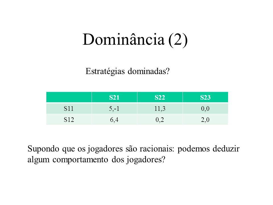 Dominância (2) S21S22S23 S115,-111,30,0 S126,40,22,0 Estratégias dominadas? Supondo que os jogadores são racionais: podemos deduzir algum comportament