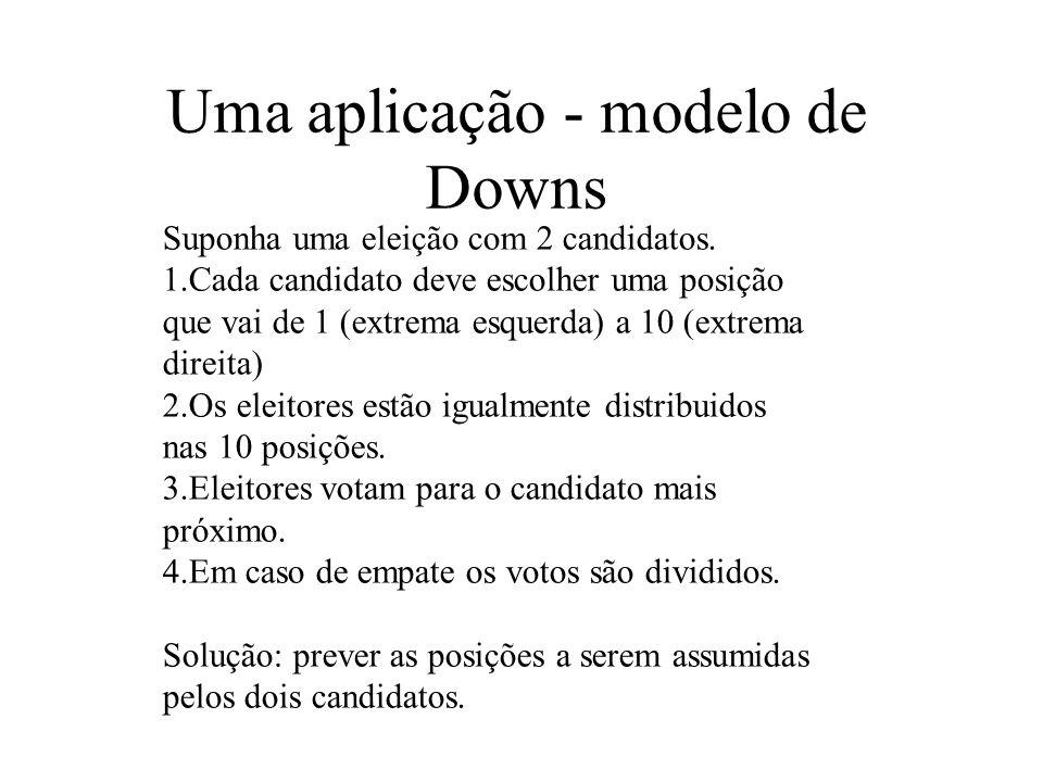 Uma aplicação - modelo de Downs Suponha uma eleição com 2 candidatos. 1.Cada candidato deve escolher uma posição que vai de 1 (extrema esquerda) a 10