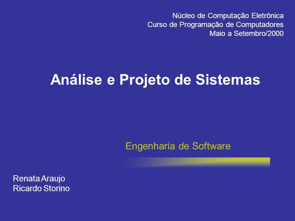 Engenharia de Software Renata Araujo Ricardo Storino Núcleo de Computação Eletrônica Curso de Programação de Computadores Maio a Setembro/2000 Análise
